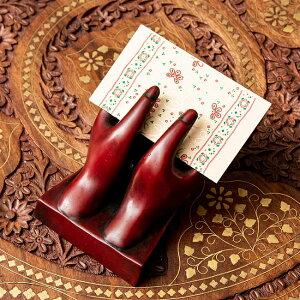 ネパールの名刺置き 赤 / インド アジア カード カードホルダー 雑貨 エスニック