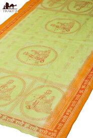 クリシュナ・ラムナミ うぐいす&オレンジ / スカーフ 壁飾り インド 神様 布 アジア ファブリック エスニック