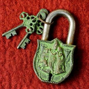 アンティック風南京錠 クリシュナ(緑) / アンティーク 鍵 レトロ インド エスニック アジア 雑貨