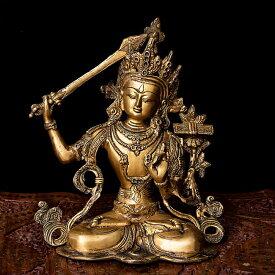 【仏像】 マンジュシュリー 文殊師利菩薩 26.5cm / 文殊菩薩 神様像 ブラス チベット 密教 ブッダ像 エスニック インド アジア 雑貨