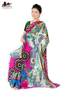 レトロボタニカル柄 カラフルサリー / レトロサリー レトロボタニカルサリー 民族衣装 デコレーション布 インド インドサリー レディース エスニック衣料 アジアンファッション エスニック