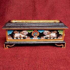 木彫りのチベタン香立て【獅子】 / お香立て ネパール チベット香 スノーライオン インセンス インド アジア エスニック