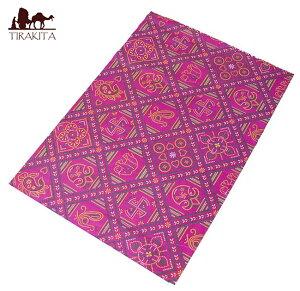 インド伝統のラッピング用紙 赤紫(5枚セット) / ギフト アジア 和紙 ラッピングペーパー 本 印刷物 ステッカー ポストカード ポスター