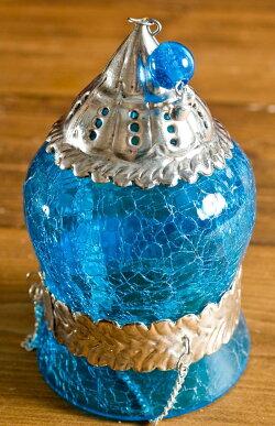 【インド品質】ひょうたん型ハンギングキャンドルスタンド みずいろ (大) / ランプ アラビア風ランプ アジアン ランプシェード エスニック 雑貨