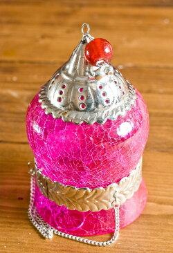 【インド品質】ひょうたん型ハンギングキャンドルスタンド ピンク (大) / ランプ アラビア風ランプ アジアン ランプシェード エスニック 雑貨