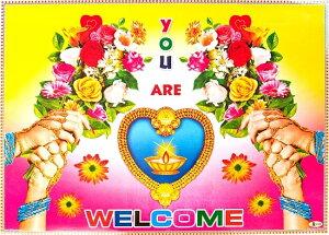 インドの大判ウェルカムポスター 【ハートのランプと花1】 / お祝い ヒンドゥー教 神様 本 印刷物 ステッカー ポストカード