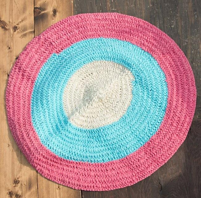 インドのコットン手織りラグマット まる型【中心がベージュ】 / レビューでタイカレープレゼント あす楽