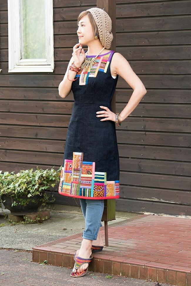 【1点もの・CHULA】モン族刺繍のワンピース デニム生地 / ストライプ ネパール コットン 送料無料 レビューでタイカレープレゼント あす楽