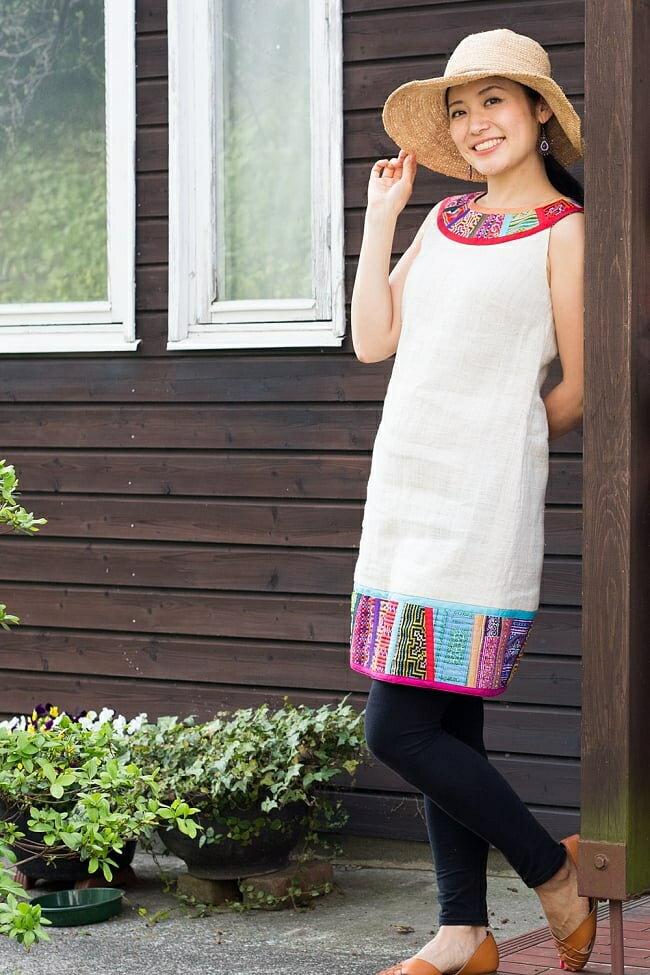 【1点もの・CHULA】モン族刺繍のワンピース ジュート生地 / ストライプ ネパール コットン 送料無料 レビューでタイカレープレゼント あす楽
