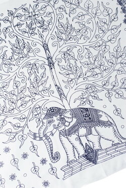 (200cm×100cm)生命の木と象のラムナミ / 神様布 スカーフ インド布 レビューでタイカレープレゼント あす楽