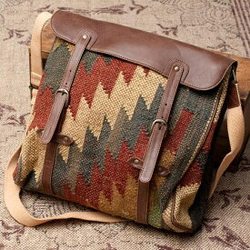 〔一点物〕伝統を紡いだ インドキリムのスクエア型ショルダーバッグ / ダリー ジュート 送料無料 レビューでタイカレープレゼント あす楽