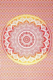 マルチクロス グラデーションマンダラ【約200cm×約134cm】 / Fabric Mandala Batik 布 壁掛け カーテン 曼荼羅 更紗 唐草 シングル アジア ベッドカバー カディコットン KHADI インド ファブリック エスニック