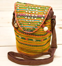 モン族刺繍スタッズショルダーバック / ミニ インド バッグ かばん ショルダーバッグ ポーチ エスニック アジア