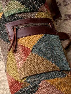 【送料無料】 〔一点もの〕伝統を紡いだ インドキリムのヨガマットバッグ / Kilim Dhurrie Bag Yoga ダリー ジュート ポーチ エスニック アジア