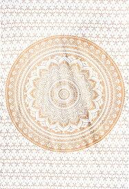 マルチクロス ホワイト&ゴールドラメマンダラ〔約206cm×約132cm〕 / ダブル ベッドカバー インド綿 布 ソファーカバー レビューでタイカレープレゼント あす楽