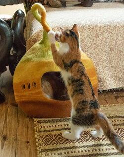 ネパールフェルトのしっぽ付きキャットハウス / ペット用品 猫ハウス フェルトフジサン(のぞき穴なし)/イエロー/ブルー/パープル/オレンジ/ボルドー/ピンク/カーキ/オレンジ+ボルドー レビューでタイカレープレゼント 通常価格より33%割引中