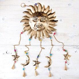 ドアチャイムなどへ!手作りのやさしい音色 インドの銅製ベル付きハンギング 天体スーリャ〔約80cm〕 / 太陽 宇宙 ドアベル レビューでタイカレープレゼント あす楽