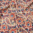 〔1m切り売り〕伝統息づく南インドから 昔ながらの木版染めペイズリー柄布〔116cm〕 赤×紺×黄 / ウッドブロック ボ…