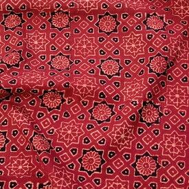 〔1m切り売り〕伝統息づく南インドから 昔ながらの木版染めアジュラックデザインの伝統模様布〔113cm〕 えんじ / ウッドブロック ボタニカル 唐草模様 量り売り布 アジアン コットン布 ファブリック エスニック