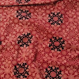〔1m切り売り〕伝統息づく南インドから 昔ながらの木版染めアジュラックデザインの更紗模様布〔114cm〕 えんじ / ウッドブロック ボタニカル 唐草模様 量り売り布 アジアン コットン布 ファブリック エスニック