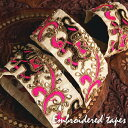 〔各色あり〕チロリアンテープ メーター売 金糸が美しい 象と更紗模様のゴータ刺繍〔幅 約5.5cm〕 / Gota embroidery …
