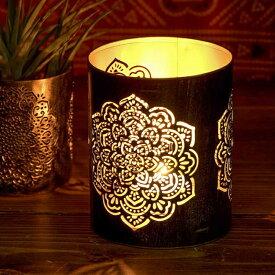 幾何学模様の透かし彫りが美しいマンダラランプ 円筒形 高さ 11cm / アラビア風ランプ キャンドル インテリア キャンドルランプ キャンドルスタンド アジアン ランプシェード エスニック インド 雑貨