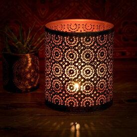 幾何学模様の透かし彫りが美しいマンダラランプ 円筒形 高さ 15cm / アラビア風ランプ キャンドル インテリア キャンドルランプ キャンドルスタンド アジアン ランプシェード エスニック インド 雑貨