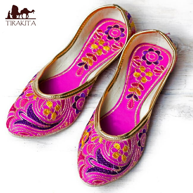 ゴージャス刺繍のマハラニフラットシューズ 靴 サイズ7/サイズ8/サイズ10/サイズ11/サイズ12/サイズ13 レビューでタイカレープレゼント あす楽