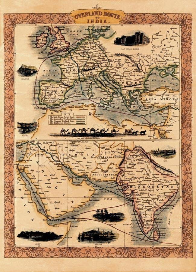 店内全品エントリーでポイント5倍 【19世紀】アンティーク地図ポスター OVERLAND ROUTE TO INDIA 【ヨーロッパ・インド周辺】 / 古地図 世界地図 あす楽