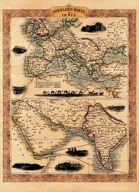 【19世紀】アンティーク地図ポスター OVERLAND ROUTE TO INDIA 【ヨーロッパ インド周辺】 / 古地図 世界地図 東南アジア 本 印刷物 ステッカー ポストカード