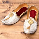 男性用宮廷靴 モジャリホワイト / シューズ 仮装 コスチューム フラットシューズ ペッタンコ靴 インド アジア サンダ…