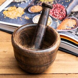 ウッドスパイスグラインダー 大 約12.5cm×10cm / すり鉢 カレー すりつぶす インド 調理器具 食器 アジアン食品 エスニック食材