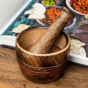 ウッドスパイスグラインダー 中 約10.3cm×7.3cm / すり鉢 カレー すりつぶす インド 調理器具 食器 アジアン食品 エスニック食材