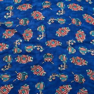 〔1m切り売り〕インドの伝統と不思議が融合 おもしろデザイン布〔108cm〕 ラジャスタンの伝統楽器たち / サブカル 仏像 ブッダ 印相 アジアン コットン布 ファブリック エスニック