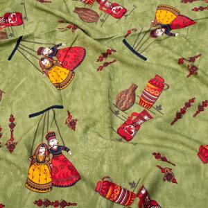 〔1m切り売り〕インドの伝統と不思議が融合 おもしろデザイン布〔109cm〕 カトプトリ ラジャスタンの操り人形 / サブカル 仏像 ブッダ 印相 アジアン コットン布 ファブリック エスニック