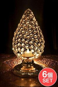 【送料無料】 【6個セット】クリスタルガラスのアラビアンキャンドルホルダー ゴールド【31cm×15.5cm】 / キャンドルスタンド ろうそく立て ランタン アジアン エスニック インド 雑貨