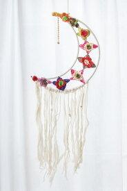 ホワイトドリームキャッチャー チャンドラ / ハンギング ヘンプ ビーズ 夢 アジア アジアン 飾り エスニック インド 雑貨