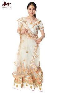 【送料無料】 【1点物】インドのレヘンガドレスセット ホワイト / パーティードレス コスプレ ウェディングドレス 民族衣装 サリー レディース 女性物 エスニック衣料 アジアンファッショ