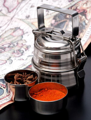 【2段】インドの弁当箱 17cm / ランチボックス レビューでタイカレープレゼント あす楽