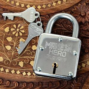 インドの南京錠 MANESH HERO / 鍵 カギ ロック アンティーク ヴィンテージ エスニック アジア 雑貨