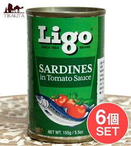 【6個セット】サーディン いわしのトマト煮 SARDINES in Tomato Souce 155g / オイルサーディン 缶詰 フィリピン フィリピン料理 カレカレ シニガン 食品 食材 アジアン食品 エスニック食材