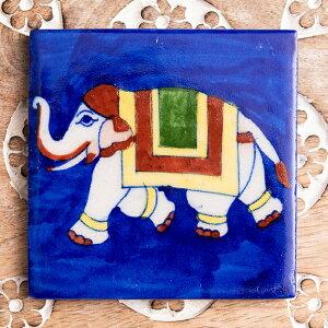 〔10cm×10cm〕ブルーポッタリー ジャイプール陶器の正方形デコレーションタイルインド象 / Blue pottery Jaipur インテリア リフォーム リノベーション ガーデニング テーブル DIY 青陶器 ジャイプ