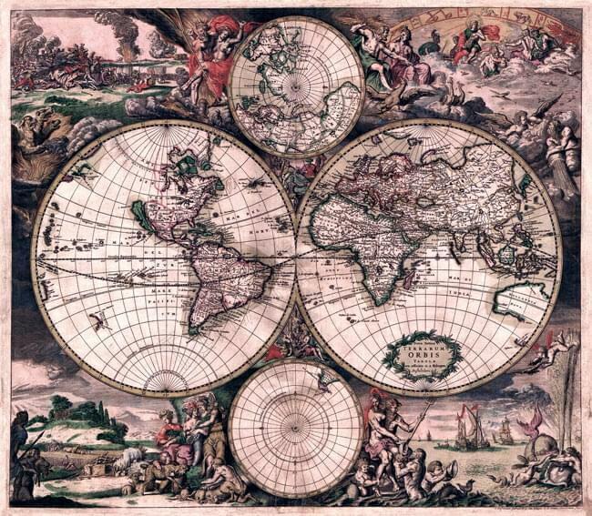 店内全品エントリーでポイント5倍 【17世紀】アンティーク地図ポスター Nova Totius Terrarum Orbis Tabula 【両半球世界地図】 / 古地図 あす楽