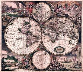 【17世紀】アンティーク地図ポスター Nova Totius Terrarum Orbis Tabula 【両半球世界地図】 / 古地図 インド 東南アジア 本 印刷物 ステッカー ポストカード