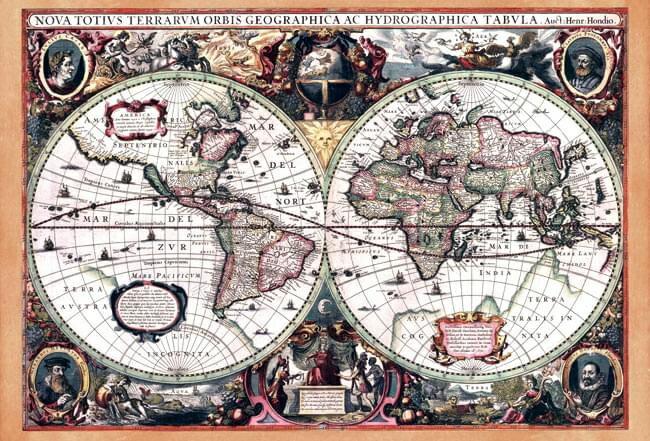 店内全品エントリーでポイント5倍 【17世紀】アンティーク地図ポスター Nova Totius Terrarum Orbis Geographica Ac Hydrographica Tabula 【両半球世界地図】 / 古地図 あす楽