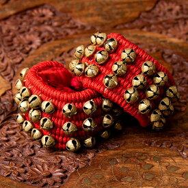 パッド付きグングル 3列 / グングルベルト インド 打楽器 民族楽器 銅鑼 ドラ インド楽器 エスニック楽器 ヒーリング楽器
