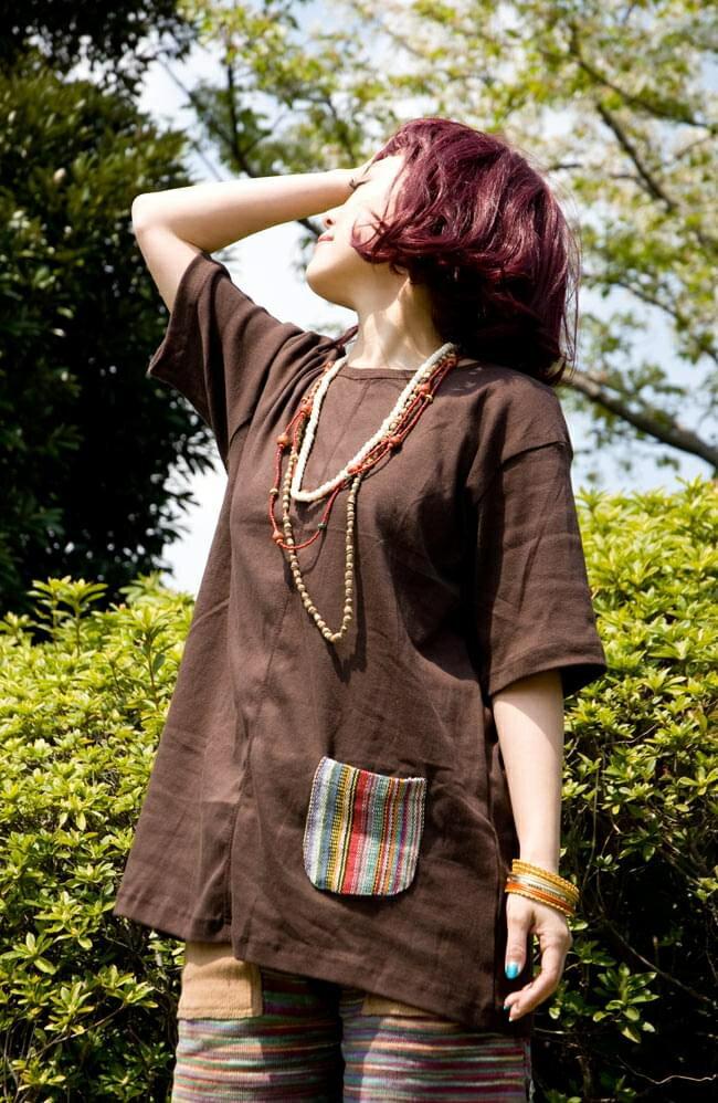 エスニック布のカラフルポケットTシャツ 春 秋 冬 ブラウン/オレンジ/ブラック/ネイビー/青緑/カーキ レビューでタイカレープレゼント あす楽