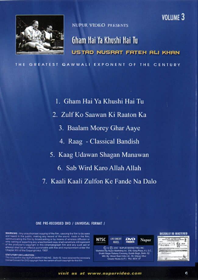 Nupur Live Concert 3 Gham Hai Ya Khushi Tu DVD / 映画 dvd あす楽