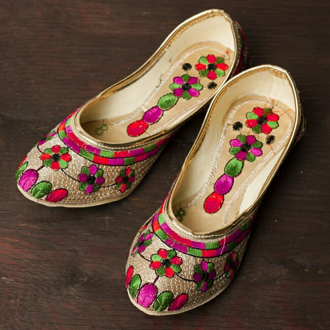 ゴージャス刺繍のマハラニフラットシューズ 靴 サイズ8/サイズ9/サイズ10/サイズ11/サイズ12/サイズ13/サイズ14 レビューでカレープレゼント あす楽