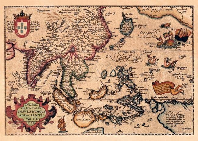 店内全品エントリーでポイント5倍 【16世紀】アンティーク地図ポスター INDIAE ORIENTALIS 【南アジア・東アジア・東南アジア周辺】 / 古地図 世界地図 あす楽